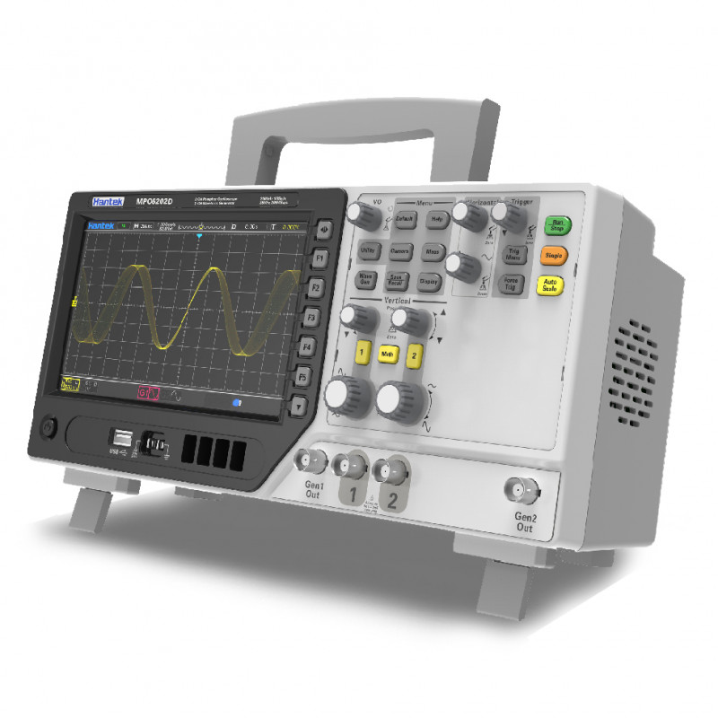 Hantek MPO6082D Osciloscopio de 2 Canales con 2 Generadores AWG y 16 Canales de Analizador Lógico